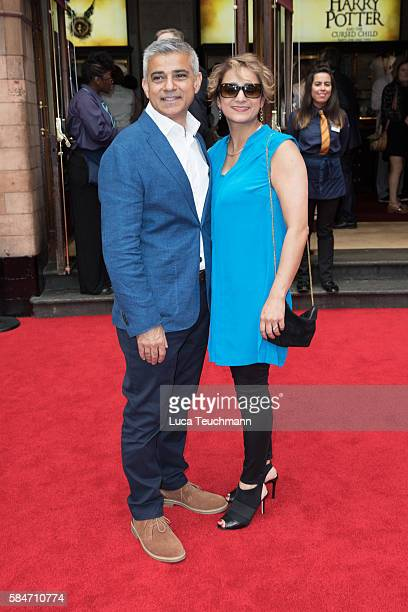 Sadiq Khan and his wife Saadiya Khan attend the press preview of 'Harry Potter The Cursed Child' at Palace Theatre on July 30 2016 in London England