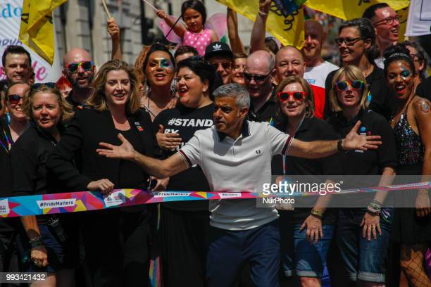 Sadiq Khan and Penny Mordaunt at Pride in London United Kingdom on July 7 2018