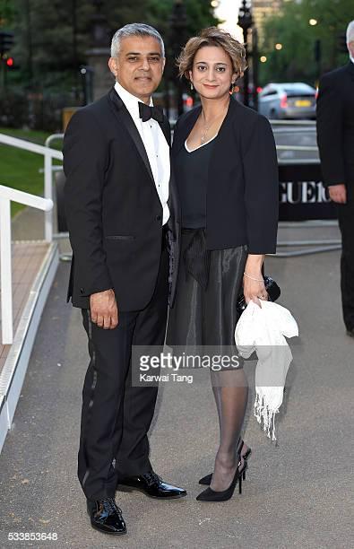 Sadiq Khan and Saadiya Khan arrive for the Gala to celebrate the Vogue 100 Festival at Kensington Gardens on May 23 2016 in London England