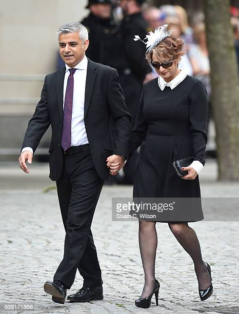 Sadiq Khan and Saadiya Khan attend a National Service of Thanksgiving as part of the 90th birthday celebrations for The Queen at St Paul's Cathedral...