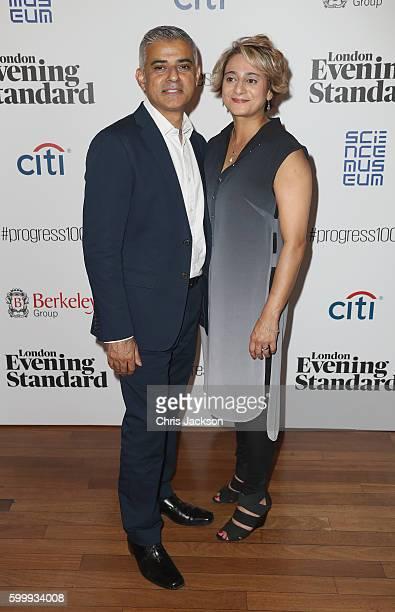 Sadiq Khan and Saadiya Khan attend London Evening Standard's Progress 1000 at Science Museum on September 7, 2016 in London, England.