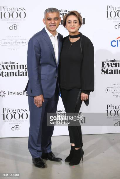 Sadiq Khan and Saadiya Khan attend London Evening Standard's Progress 1000 London's Most Influential People event at on October 19 2017 in London...