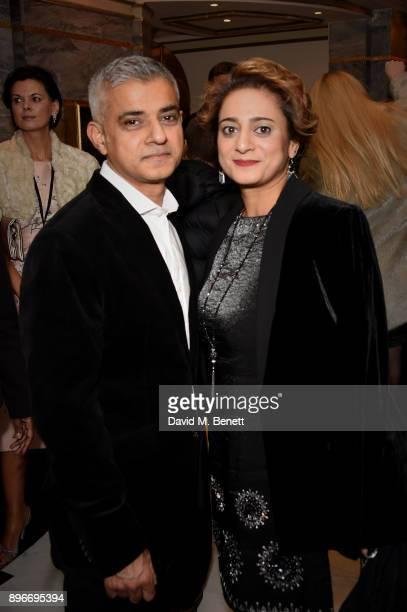 Sadiq Khan and Saadiya Khan attend the press night performance of Hamilton at The Victoria Palace Theatre on December 21 2017 in London England