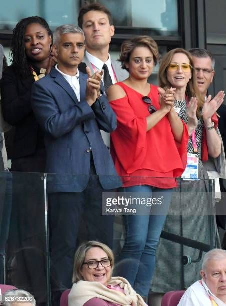 Sadiq Khan and wife Saadiya Khan attend day two of the IAAF World Athletics Championships at the London Stadium on August 5 2017 in London United...