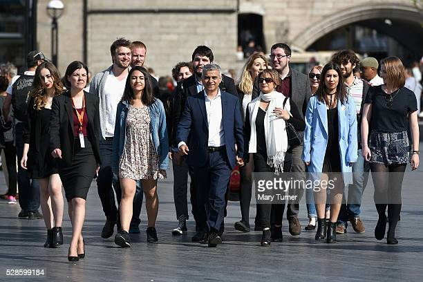 Sadiq Khan arrives with his wife Saadiya, family and aides arrive at City Hall on May 6, 2016 in London, England. Mr Khan is expected to be declared...