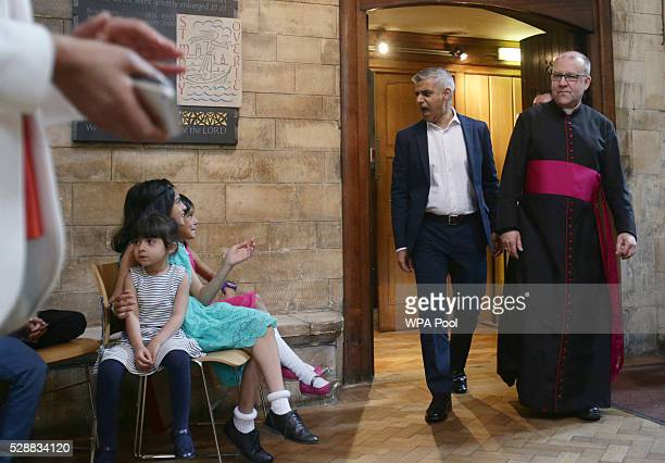 Sadiq Khan arrives with the Dean of Southwark Cathedral The Very Reverend Andrew Nunn for an official signing ceremony at Southwark Cathedral as he...