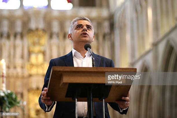 Sadiq Khan attends an official ceremony at Southwark Cathedral as he begins his first day as newly elected Mayor of London on May 7 2016 in London...