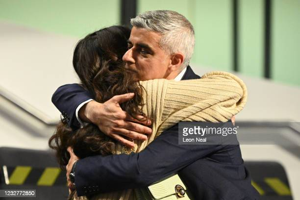 Sadiq Khan hugs his daughter after being re-elected as London mayor for second term at the London election count declaration on May 8, 2021 in...