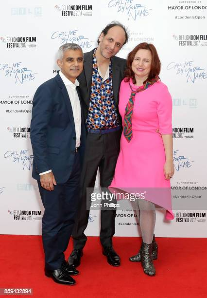 Sadiq Khan Luca Guadagnino and Clare Stewart attend the Mayor Of London Gala UK Premiere of 'Call Me By Your Name' during the 61st BFI London Film...