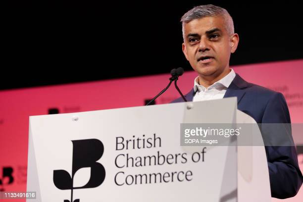 Sadiq Khan, Mayor of London is seen speaking during the Annual Conference. British Chambers of Commerce Annual Conference brings together the UK...