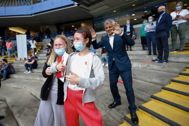 GBR: London Mayor Visits Pop-up Chelsea FC Vaccine Hub