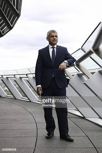 Sadiq Khan, mayor of London, poses for a photograph following a Bloomberg Television interview at City Hall in London, U.K., on Tuesday, June 28,...