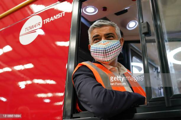Sadiq Khan, Mayor of London poses for the media at the wheel of a bus during a visit the electric bus manufacturer Switch Mobility in Yorkshire on...