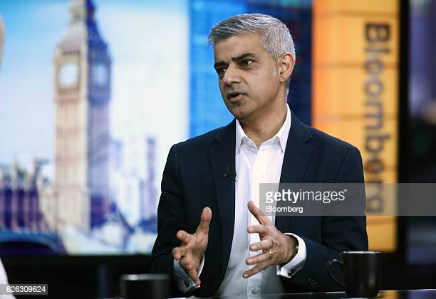 Sadiq Khan mayor of London speaks during a Bloomberg Television interview in London UK on Monday Nov 28 2016 Khan said he received private assurances...