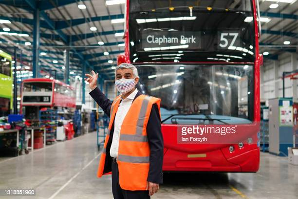 Sadiq Khan, Mayor of London visits the electric bus manufacturer Switch Mobility in Yorkshire on May 19, 2021 in Leeds, England. The visit comes to...