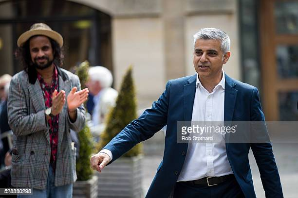 Sadiq Khan Mayorelect of London is greeted by wellwishers outside Southwark Cathedral on May 7 2016 in London England Khan the Labour MP for Tooting...