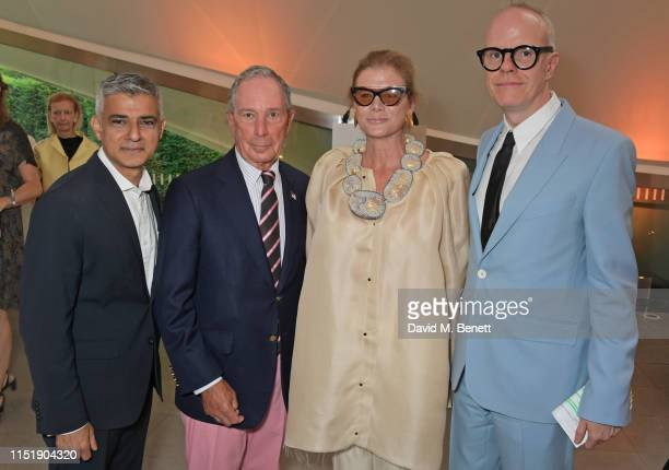 Sadiq Khan, Michael Bloomberg, Lady Elena Ochoa Foster and Hans-Ulrich Obrist attend a drinks reception ahead of The Summer Party 2019, presented by...