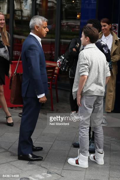 Sadiq Khan seen meeting Caleb McLaughlin and Noah Schnapp from 'Stranger Things' outside the Global Radio Studios on September 7, 2017 in London,...