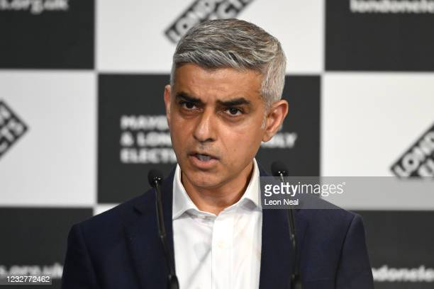 Sadiq Khan speaks after being re-elected as London mayor for second term at the London election count declaration on May 8, 2021 in London, England....