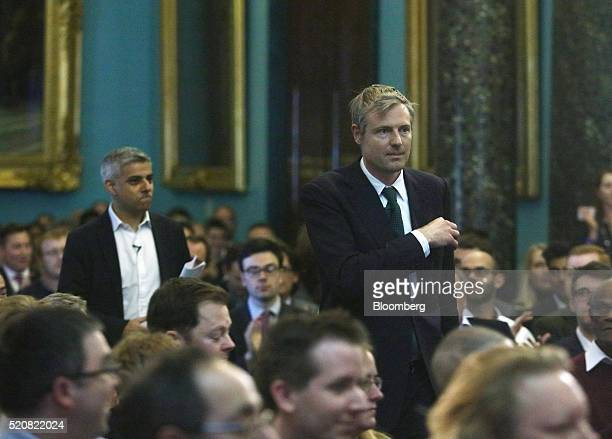 Sadiq Khan the Labour Party candidate for London mayor left and Zac Goldsmith the Conservative Party candidate for London mayor walk to begin the...