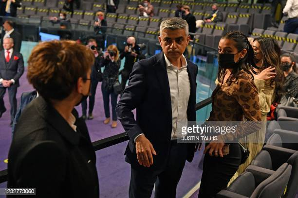 Sadiq Khan with hs family after being declared the winner of the London Mayoral election at City Hall in London on May 8 winning his second term as...