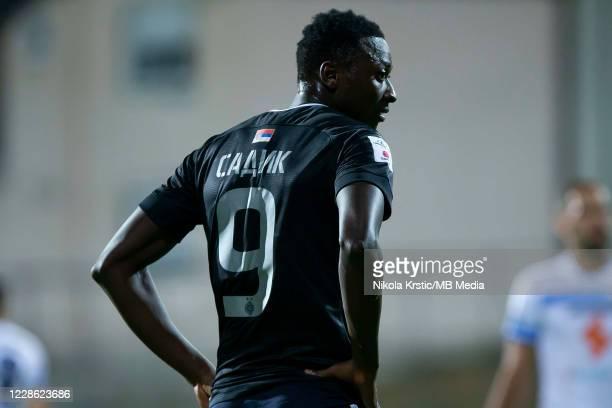 Sadiq Umar of Partizan Belgrade reacts during the Linglong Tire SuperLiga Srbije match between Zlatibor v FK Partizan at Gradski Stadium on September...