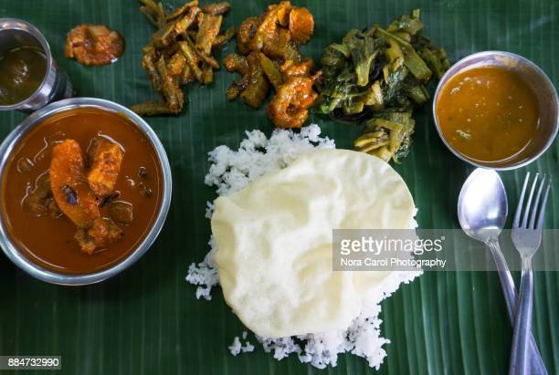 Sadya or Banana Leaf Rice Indian Food.