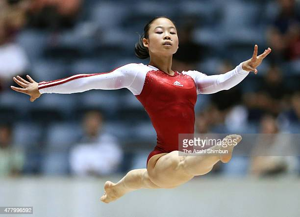 Sae Miyagawa competes in the Women's Floor during day one of the All Japan Artistic Gymnastics Apparatus Championships at Yoyogi National Gymnasium...