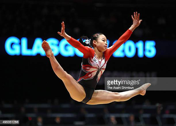Sae Miyakawa of Japan competes in the Women's Floor final during day ten of the 2015 World Artistic Gymnastics Championships at The SSE Hydro on...