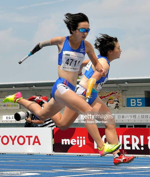 Sae Shigemoto and Honoka Misu compete in the Women's 100m T47 during day two of the Japan Para Athletics Championships at the Yashima Rexxam Field on...