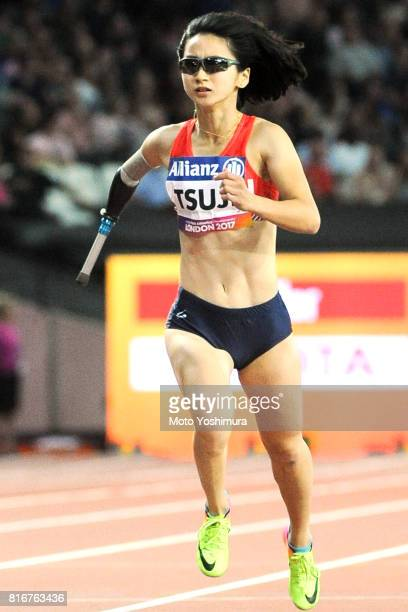 Sae Tsuji of Japan competes in the Women's 200m T47 Final during Day Two of the IPC World ParaAthletics Championships 2017 at London Stadium at...