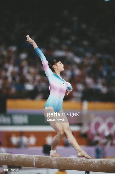 Sae Watanabe of Japan performs during the Women's Balance Beam event on 5 August 1984 during the XXIII Olympic Summer Games at the Edwin W Pauley...