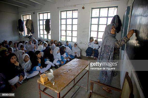 Saeb Sultan carries on teaching girls despite the many threats that the school received from the Taliban militants March 31 2009 in Mardan NorthWest...