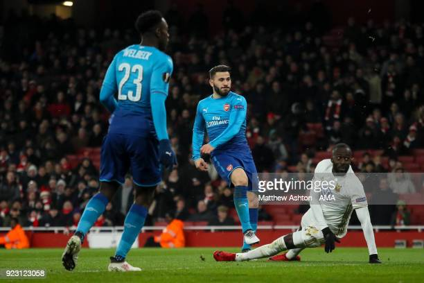 Saed Kolasinac of Arsenal scores a goal to make it 12 during UEFA Europa League Round of 32 match between Arsenal and Ostersunds FK at the Emirates...