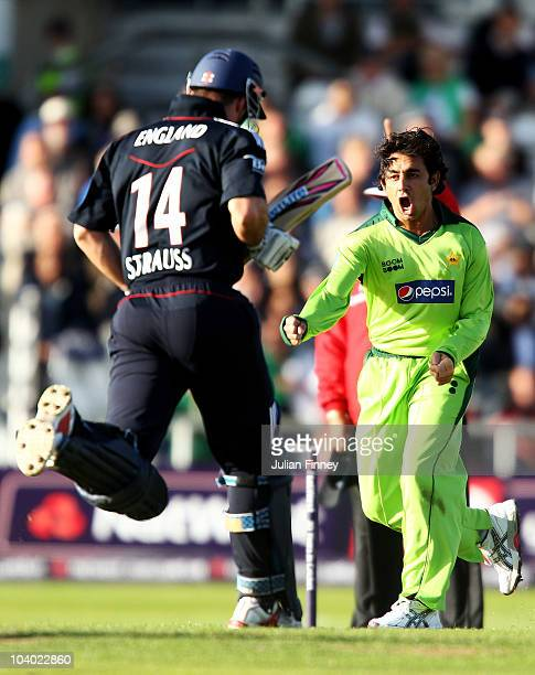 Saeed Ajmal of Pakistan celebrates the wicket of Andrew Strauss of England during the 2nd NatWest One Day International between England and Pakistan...