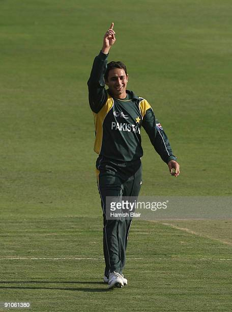 Saeed Ajmal of Pakistan celebrates the wicket of Darren Sammy of West Indies during the ICC Champions Trophy Group A match between Pakistan and West...