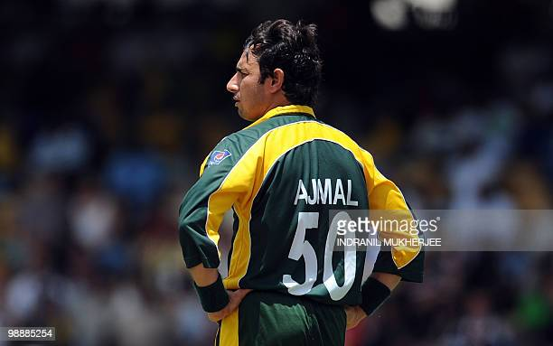 Saeed Ajmal of Pakistan reacts after dropping the third catch of the England cricketer Craig Kieswetter during The ICC World Twenty20 Super 8 stage...