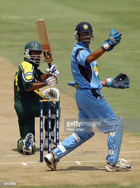 Saeed Anwar of Pakistan in action as Rahul Dravid of India looks on during the ICC Cricket World Cup 2003 Pool A match between India and Pakistan...