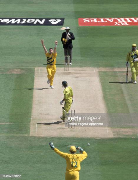 Saeed Anwar of Pakistan is bowled for 15 runs by Damien Fleming of Australia during the World Cup Final between Australia and Pakistan at Lord's...