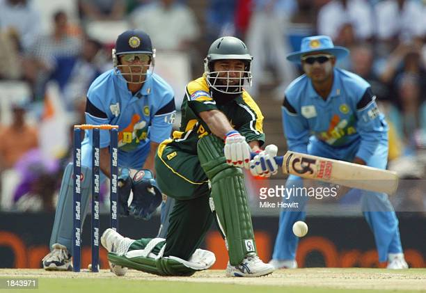 Saeed Anwar of Pakistan sweeps during his century during the ICC Cricket World Cup 2003 Pool A match between India and Pakistan held on March 1 2003...