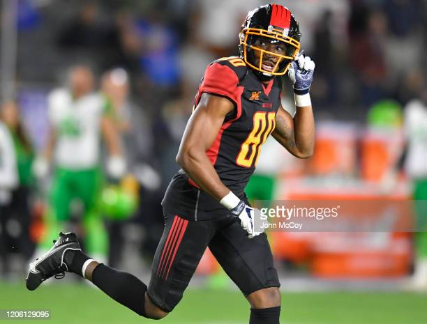 Saeed Blacknall of the Los Angeles Wildcats celebrates a touchdown in the second half against the Tampa Bay Vipers at Dignity Health Sports Park...