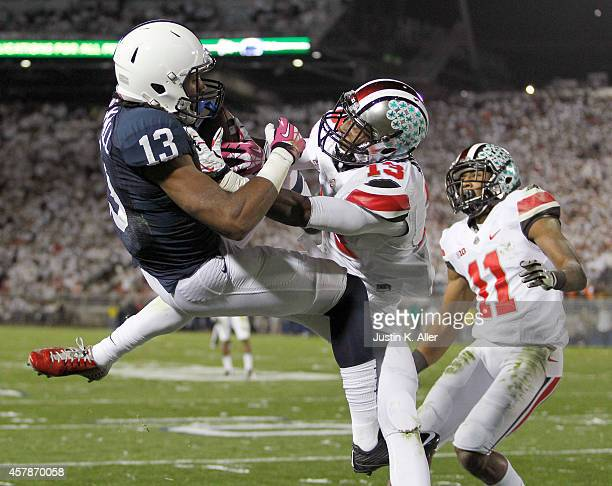 Saeed Blacknall of the Penn State Nittany Lions catches a 24 yard touchdown pass in the fourth quarter against Eli Apple of the Ohio State Buckeyes...