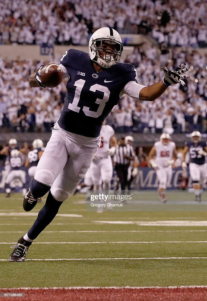 Saeed Blacknall #13 of the Penn State Nittany Lions runs for a touchdown during the third quarter of the Big Ten Championship game against the Wisconsin Badgers at Lucas Oil Stadium on December 3, 2016 in Indianapolis, Indiana.