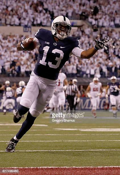 Saeed Blacknall of the Penn State Nittany Lions runs for a touchdown during the third quarter of the Big Ten Championship game against the Wisconsin...