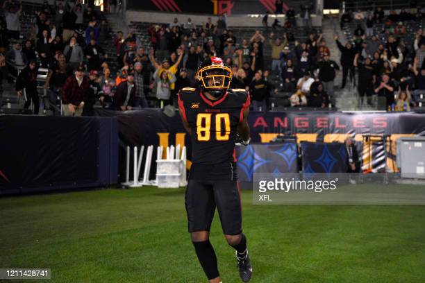 Saeed Blacknall of the LA Wildcats celebrates after a touchdown during the XFL game against the Tampa Bay Vipers at Dignity Health Sports Park on...