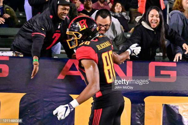 Saeed Blacknall of the LA Wildcats celebrates with fans while playing Tampa Bay Vipers at Dignity Health Sports Park during an XFL game on March 8...