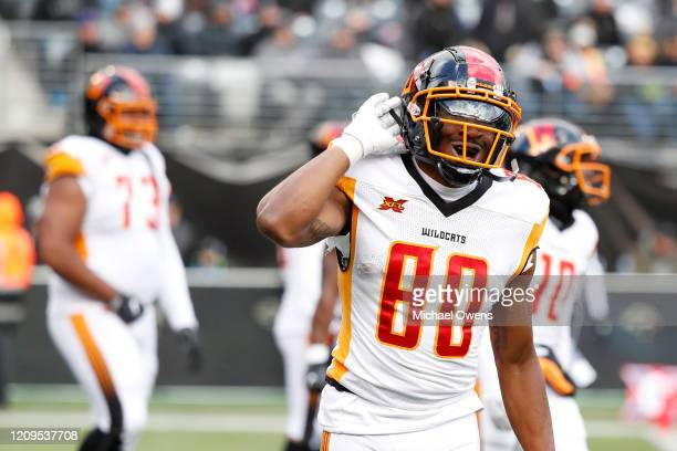 Saeed Blacknall of the LA Wildcats gestures to the crowd after scoring a touchdown against the NY Guardians during the second half of their XFL game...