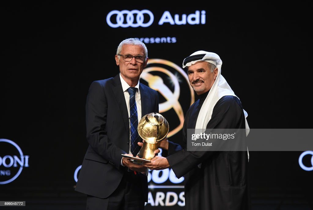 E. Saeed Hareb, the Secretary General of Dubai Sports Council presents Hector Cuper with Kooora Best Arab National Team Coach Award during the Globe Soccer Awards 2017 on December 28, 2017 in Dubai, United Arab Emirates.