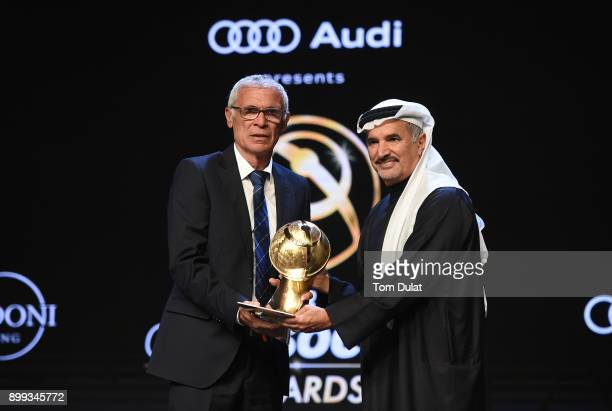 E Saeed Hareb the Secretary General of Dubai Sports Council presents Hector Cuper with Kooora Best Arab National Team Coach Award during the Globe...