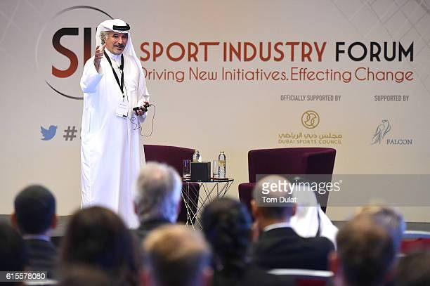 E Saeed Harib Secretary General of the Dubai Sports Council speaks during the Sport Industry Forum at Jumeirah Creekside Hotel on October 19 2016 in...